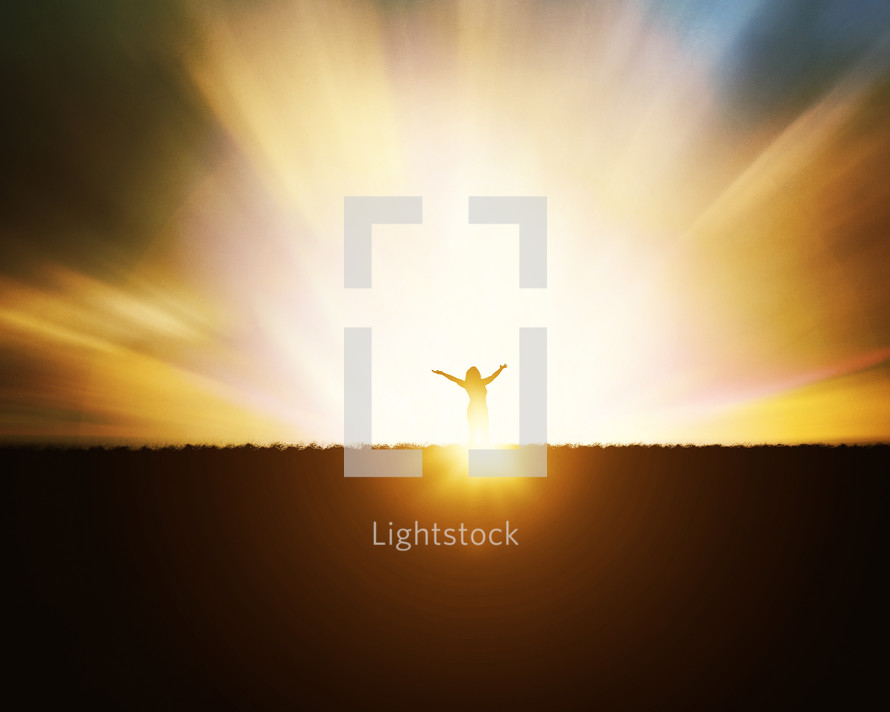 woman standing under holy light