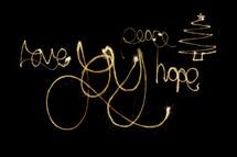 Christmas message written in lights.