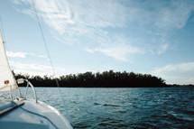 a sailboat on a lake