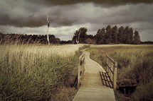 Wooden bridge and walkway into tree-lined field during storm.