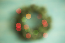 bokeh Christmas wreath background.