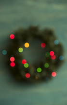 defocused Christmas wreath.