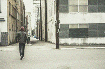 man, alley, leather jacket, hoodie, walking, standing