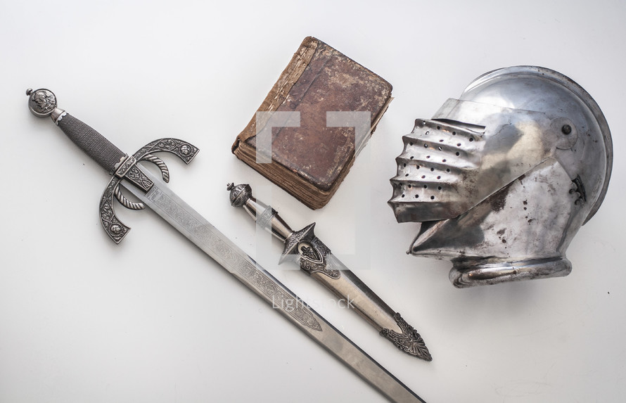 knight, sword, soldier, book, knife, helmet, armor
