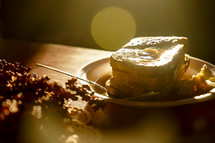 french toast on a plate in warm sunlight