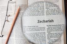 magnifying glass over Zechariah
