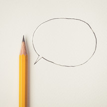 pencil and talk bubble