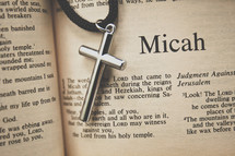 Micah and a cross necklace