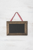 framed Christmas chalkboard with copy space