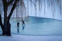 kids playing hockey on a frozen pond