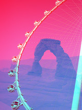 Pop Art Double Exposure Juxtaposition Photograph of Delicate Arch and High Roller Ferris Wheel