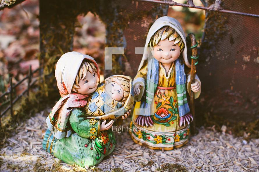 Mary, Joseph, and baby Jesus Nativity figurines