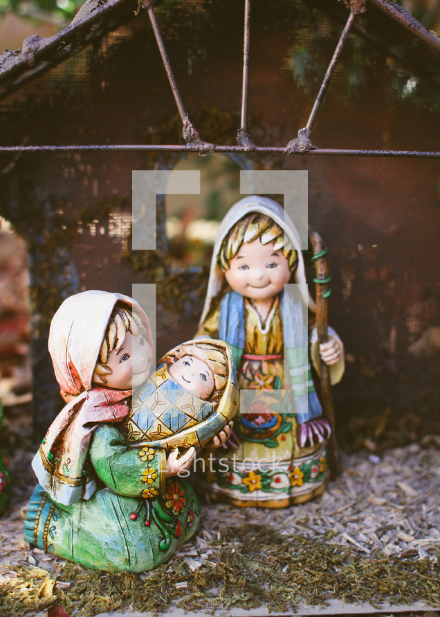Mary, Joseph, and baby Jesus figurines for a Nativity scene