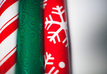 Rolls of wrapping paper on white