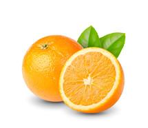 Sliced orange half with a whole orange and leaves.