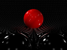 red sphere standing out