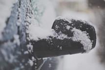 a rear view mirror in winter