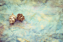 pine cone on blue green crinkled background