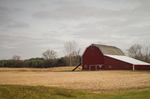 red barn on farmland