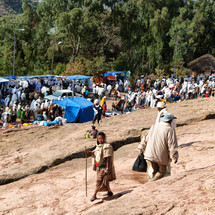 tents and people at a crowded celebration in Ethiopia