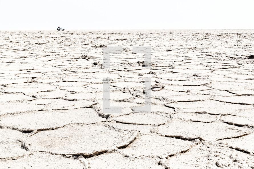 dry salt lake soil