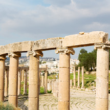 archeological site and ruins with columns