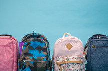 row of student book bags