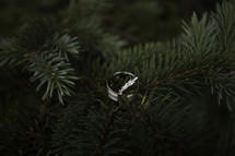 wedding rings in a Christmas tree