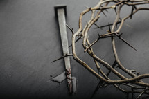 A crown of thorns and a nail with blood on it.