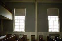rows of empty church pews