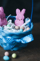 peeps in an Easter bakset