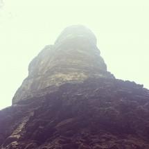 foggy rock peak