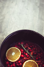 cranberry and orange slices
