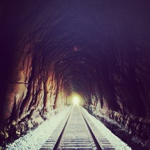 light at the end of a train tunnel