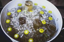 Bottled drinks on ice