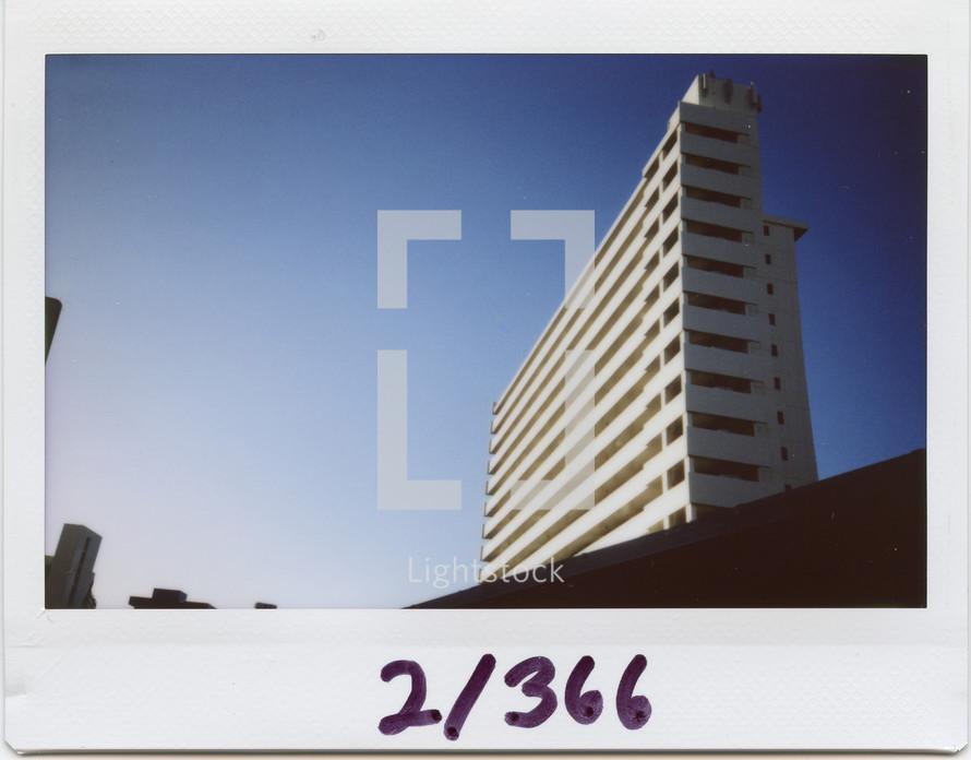 Polaroid of a hotel