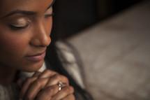 a woman in prayer