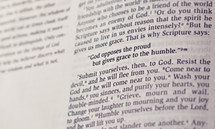 """Bible open to James 4:6 -- """"God opposes the proud but gives grace to the humble."""""""