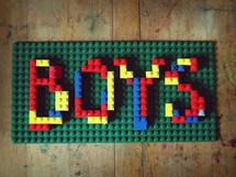 Boys sign in legos