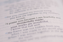 """praise you because I am fearfully and wonderfully made"""
