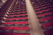Red pews and aisle