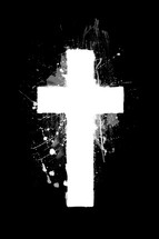 painted white cross on black background