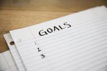 list of Goals written on paper.