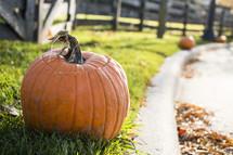 carved pumpkin on a curb