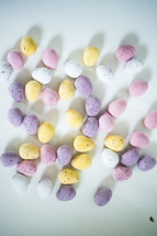 Easter egg candy on white background
