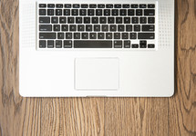 open laptop computer on a desk