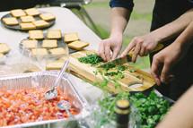 preparing appetizers