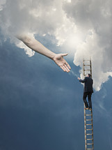 man climbing a ladder to heaven and reaching hand of God