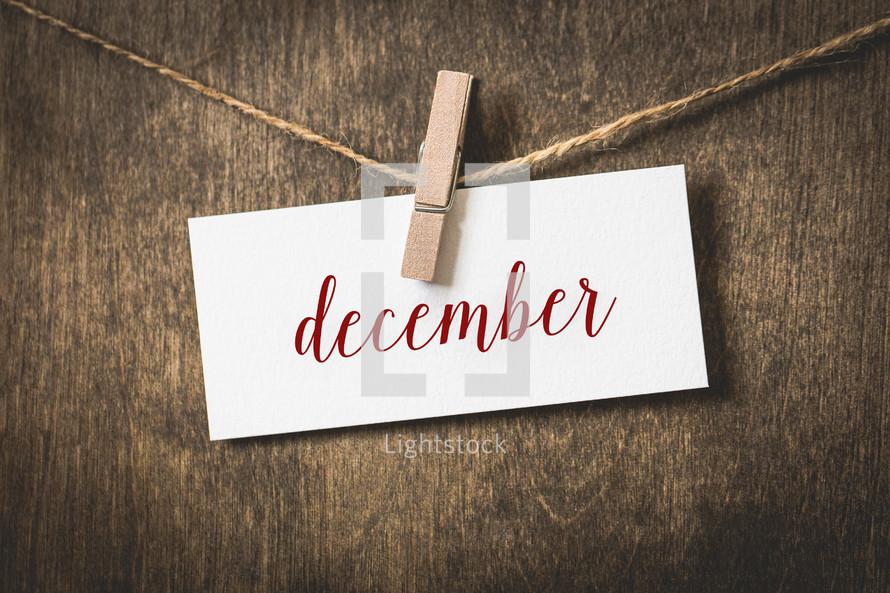 word December hanging on a clothesline