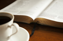 coffee and Bible, morning devotional